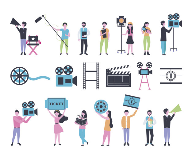 bundle of people and cinema entertainment icons vector illustration design